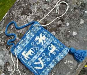 Blue and Ecru Drawstring Purse