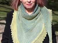 Ondine shawl worn by designer  Helene Marcy
