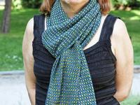 Tweedy scarf  by Hélène Marcy-knotted