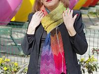 a Kind of Rainbow shawl -tied